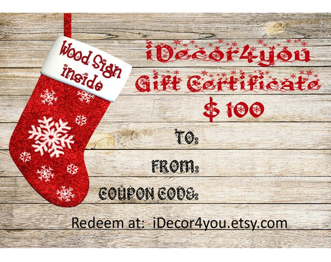 Last Minute Gift, 100 Digital Gift Certificate Printable Download, Christmas Gifts Card for Her, Gifts for Co-Workers, Christmas Cards