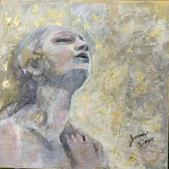 """Serenity Series Large Original painting """"Always in my heart"""" 20 by 20 inches Wall Art Gold Leaf gallery wrapped Painting gold gray"""