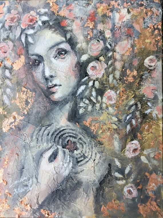 My heart a labyrinth Original Acrylic Painting 11 by 14 Rose Gold pink woman's face