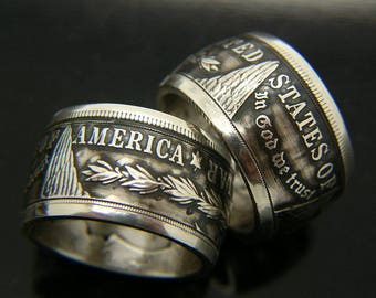 Morgan Silver Dollar Coin Ring, New, smaller and larger sizes.