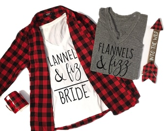 Flannels & Fizz Tee, Winter Bachelorette Tee, Winter Bachelorette Shirt, Winter Bachelorette Party, Flannel Bachelorette Weekend, Bride Tee