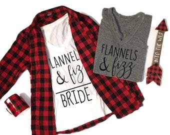 Flannels & Fizz Tee, Winter Bachelorette Tee, Winter Bachelorette Shirt, Winter Bachelorette Party, Flannel Bachelorette Weekend, Bride Tee