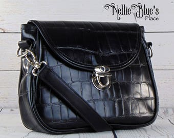 Leather Saddle Bag Handbag in Black Reptile/Croc Embossed Leather, Leather Bag OOAK (Ready to Ship)