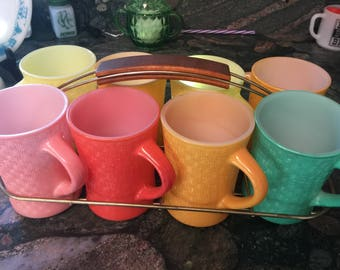 VINTAGE GLASBAKE Basket Weave Mugs-REDUCED