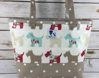Scotty dog Oilcloth tote bag, laminated cotton tote bag, Daybag, beach bag.