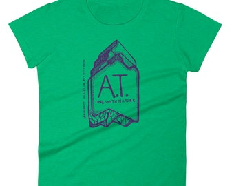 Women's Appalachian Trail T-shirt: A.T. One With Nature, Heather Green