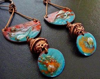 Original tribal ethnic earrings Bohemian brass, turquoise, red and orange glazes