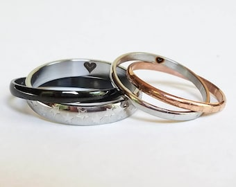 His and Her Rings, Custom Ring, Personalized Ring, Titanium Ring, Couples Ring, Couple Ring, Couples Rings, Couple Rings
