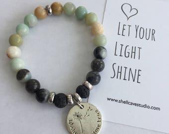 Wishes Do Come True Amazonite Diffuser Mala Bracelet with Lava Beads