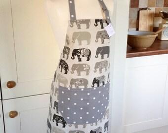 Apron, Elephants & Grey Dotty Apron, Elephants Apron, Ladies Adjustable Apron, Full Apron, Grey Elephants, Gift for Her, Kitchen and Baking