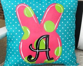 "18"" Custom-Bunny Head and Dots Pillow"