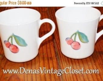 On Sale 25% OFF Vintage Corelle Coffee Mugs Fruit Basket Mugs Cups Cherries Apples Lot of 2
