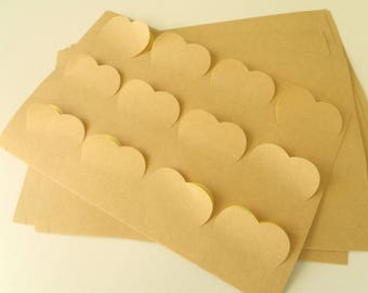 "12 stickers ""Hearts"" Kraft 3.8 cm * 3.4 cm"