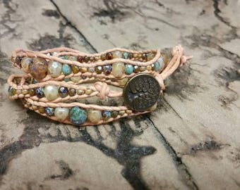 Shades of Brown 3x leather wrap