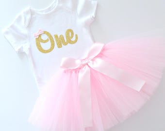 First Birthday & Cake Smash Tutu Outfit | Gold Glitter One Onesie Bodysuit and Pink Tutu | Baby Girl | Short Sleeves | 1st Birthday Party
