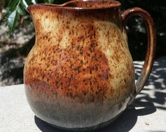 Ceramic Pitcher - Handmade stoneware pottery pitcher in earthy earthy browns and flowing blues