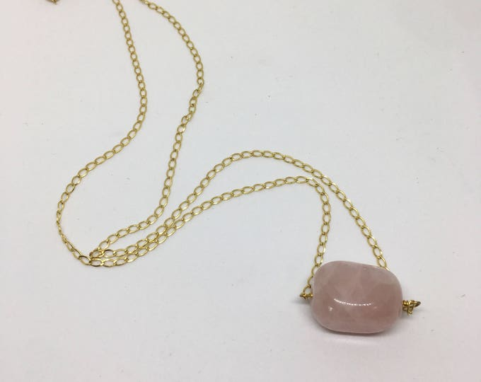 Rose Quartz - gold filled chain