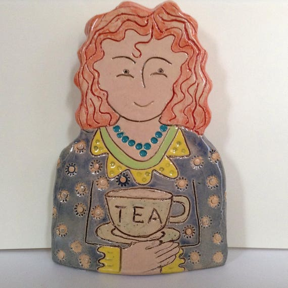On PRE-ORDER.  Lady with Cuppa.  Handmade ceramic bust, mini-bust, Colourful People, collectible, one of a kind