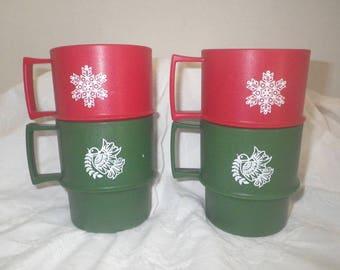 Vintage Tupperware Holiday Christmas Mugs