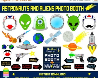 SALE PRINTABLE Astronauts & Aliens Photo Booth Props–Photo Booth Sign-Rocket Man,Aliens,Outer Space Photo Props- Astronaut Props-Instant Dow