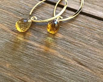 14k Gold Citrine Drop Earrings