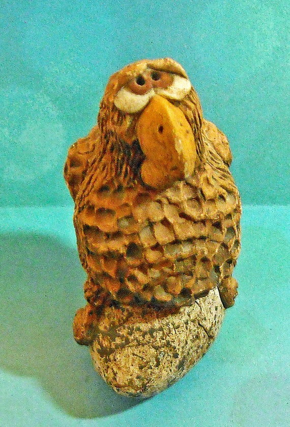 Rare Vintage Whimsical Pottery Parrot Hen Sitting on Big Egg Caricature