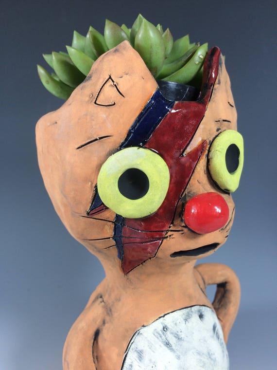 Kitty Stardust // Ziggy // Stardust // Cat lovers // Cat planters // Succulent pot // Ceramics // Clay Kitty // Kitty planter