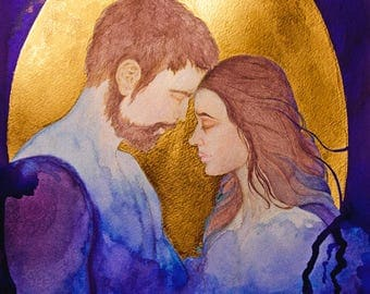 Beautiful Sacred Lovers In Gold Watercolour Painting