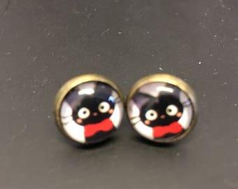 Kiki's ddelivery service Jiji Black cat stud earrings studio ghibli