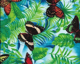 "New Multi color Butterflies and Ferns 100% Cotton Fabric 21"" x 18"" Piece"