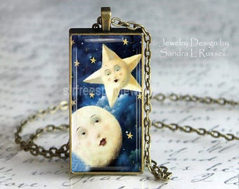 Moon and Star Pendant, Celestial Jewelry, Night Sky, Moon, Stars, Photo image Pendant, astrology, gift for women, Boho accessory