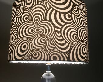 Retro Mod 1960's lampshade Mid century Psychedelic lamp shade Mod 1970's black and white swirl