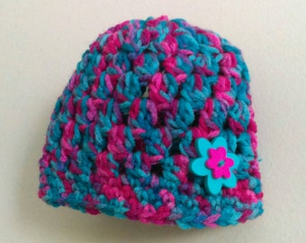 Pink and turquoise multicolored baby beanie