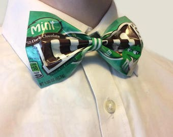 Upcycled Green Sweet Wrapper Bow Tie, Unusual and Unique Gift for Men