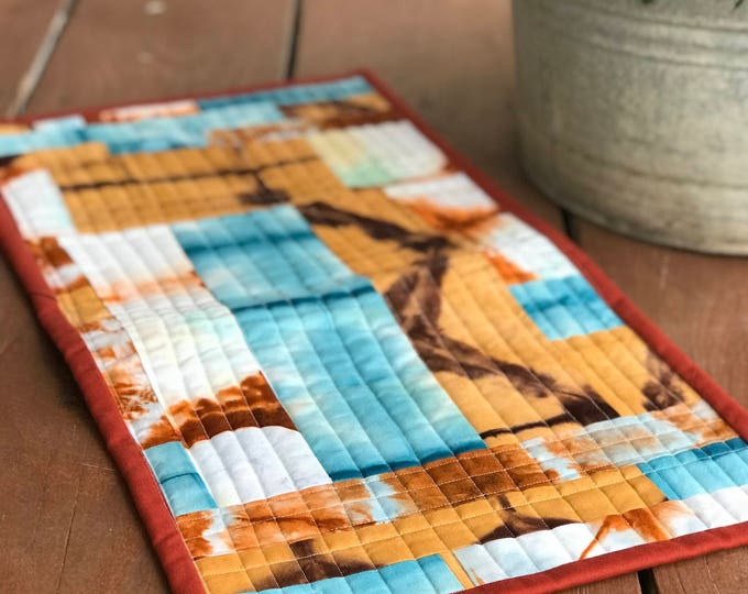 Table Runner - Orange, Teal, Merlot, hand dyed, shibori
