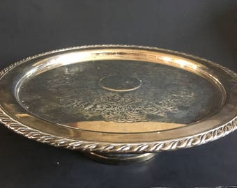 Vintage Oneida Silver Plate Pedestal Cake  Plate/ Stand