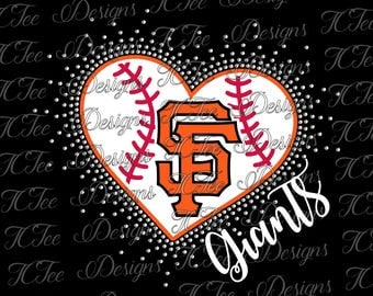 San Francisco Giants Mixed Media Heart - Rhinestone Scatter - Baseball - SVG Design Download - Vector Cut File - Rhinestone Template