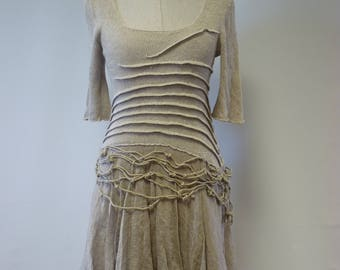 Boho artsy taupe linen dress, M size. Made of pure linen.