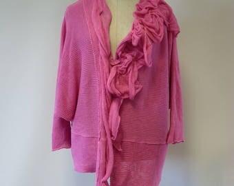 Fancy pink linen cardigan, XXL size.