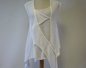 Summer white linen asymmetrical top, M size.
