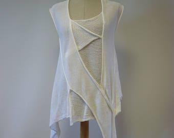 Summer white linen asymmetrical top, M size.