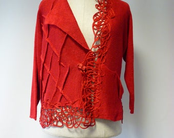 Casual artsy red linen cardigan, L size.