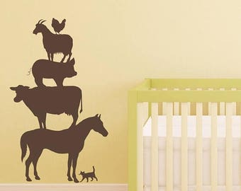 Farm Decals, Farm Wall Decals, Farm Animals, Farm Animal Decal, Vinyl Decals, Farm Decor, Horse Decal, Cow Decal, Pig Decal