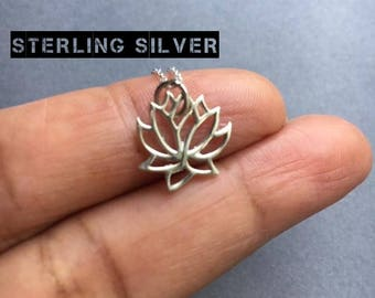Lotus Necklace, Sterling Silver Necklace, Silver Lotus Necklace, Lotus Pendant, Layering Necklace, Boho Necklace