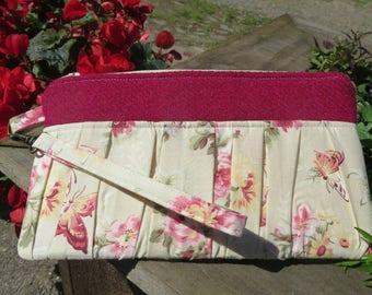 Harris Tweed Ruffled Wristlet, Pouch, Clutch,Bag, floral, bordeaux  Harris tweed,