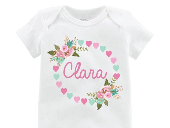 Girl Valentine's Onesie Personalized Floral Hearts Mint Pink Gold Name Shirt Baby Valentine Heart Shirt Monogram Gold and Pink Floral