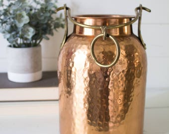 Vintage Hammered Copper Jug - Large Hammered Copper Hanging Jug Vintage Metallic Jars and Vases Flower Decor