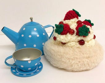 Play Food Crochet Strawberry Pavlova, Gift, Amigurumi