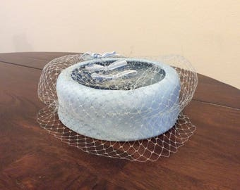 1950s light blue hat with veil