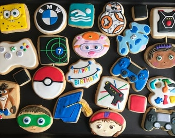 Mix of COOKIES x12 - unique GIFT - create your own cookie assortment with designs from my shop any ocassion - birthday - engagement